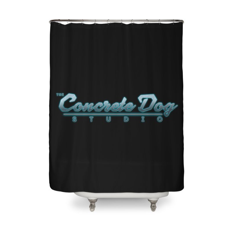 The Concrete Dog Studio Logo - Text Only Home Shower Curtain by The Evocative Workshop's SFX Art Studio Shop
