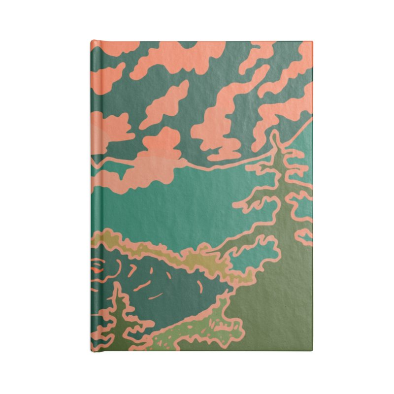 Mountain Lake at Night Accessories Notebook by Evy Illustration
