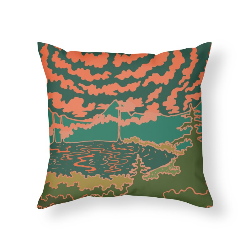 Mountain Lake at Night Home Throw Pillow by Evy Illustration