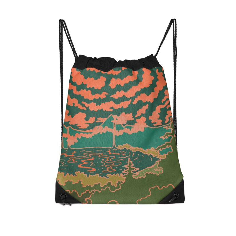 Mountain Lake at Night Accessories Bag by Evy Illustration