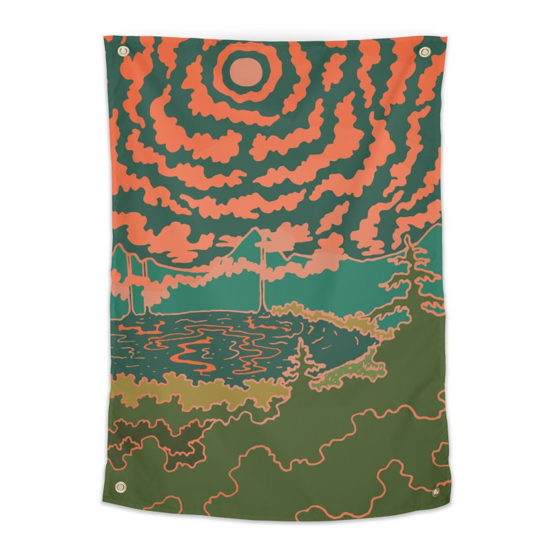 Mountain Lake at Night Home Tapestry by Evy Illustration