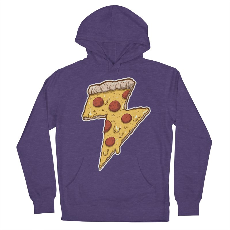 Thunder Cheesy Pizza Men's French Terry Pullover Hoody by exeivier's Artist Shop