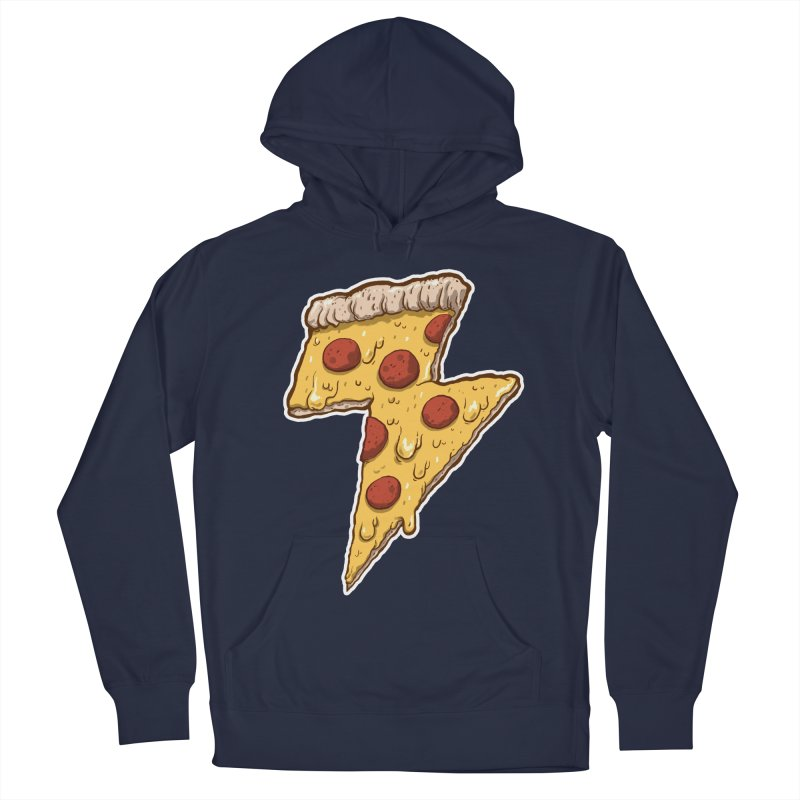 Thunder Cheesy Pizza Men's Pullover Hoody by exeivier's Artist Shop