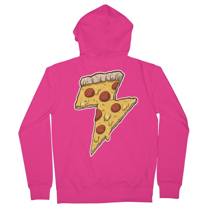 Thunder Cheesy Pizza Men's French Terry Zip-Up Hoody by exeivier's Artist Shop