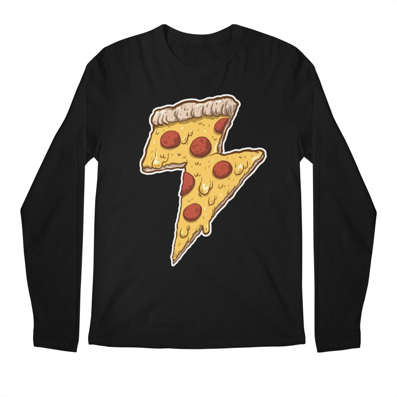 Thunder Cheesy Pizza Men's Longsleeve T-Shirt by exeivier's Artist Shop