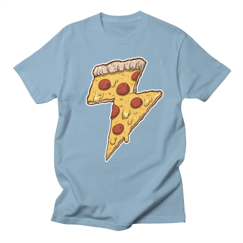 Thunder Cheesy Pizza Men's T-shirt by exeivier's Artist Shop