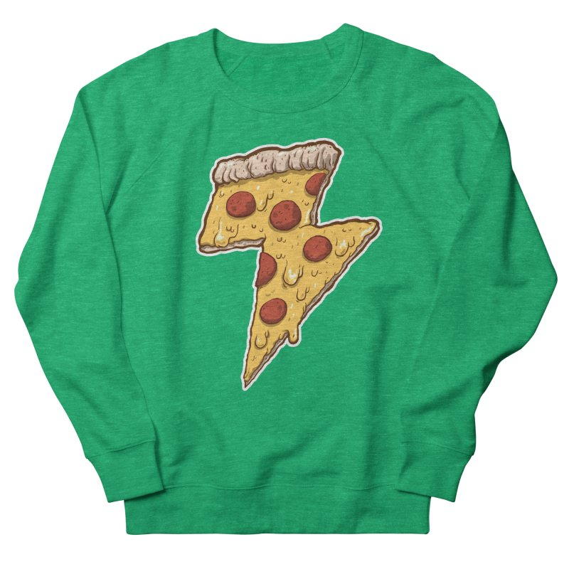 Thunder Cheesy Pizza Women's Sweatshirt by exeivier's Artist Shop