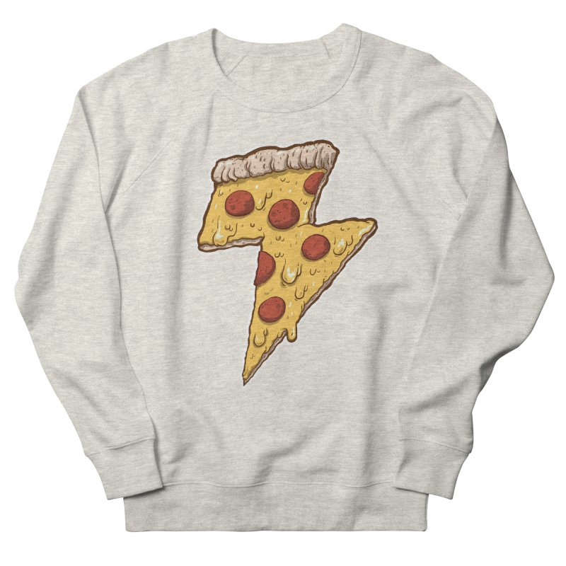 Thunder Cheesy Pizza Men's French Terry Sweatshirt by exeivier's Artist Shop
