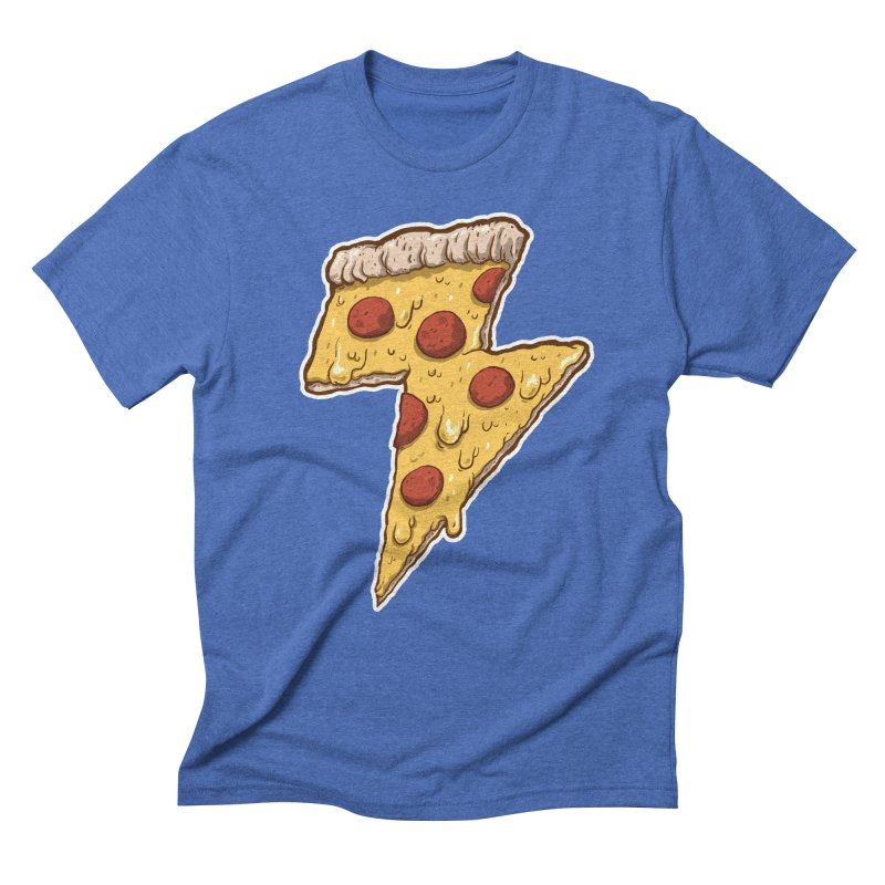 Thunder Cheesy Pizza Men's Triblend T-shirt by exeivier's Artist Shop