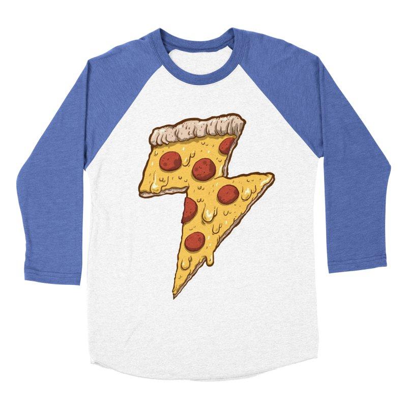 Thunder Cheesy Pizza Men's Baseball Triblend Longsleeve T-Shirt by exeivier's Artist Shop