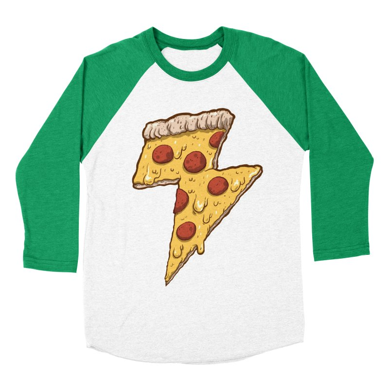Thunder Cheesy Pizza Men's Baseball Triblend T-Shirt by exeivier's Artist Shop