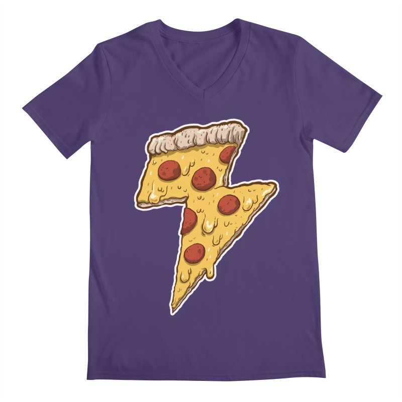 Thunder Cheesy Pizza Men's V-Neck by exeivier's Artist Shop