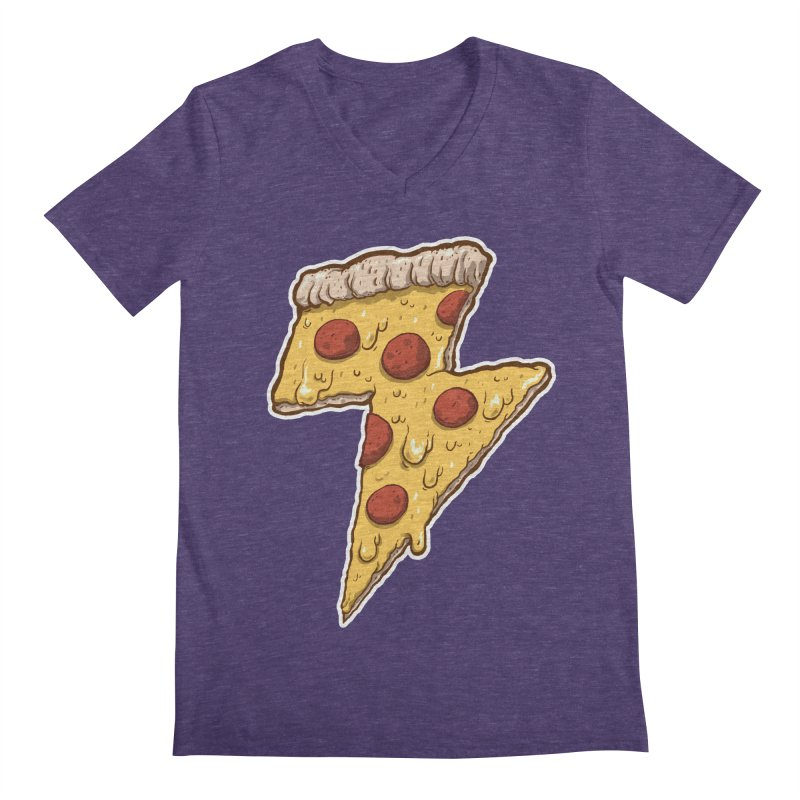 Thunder Cheesy Pizza Men's Regular V-Neck by exeivier's Artist Shop