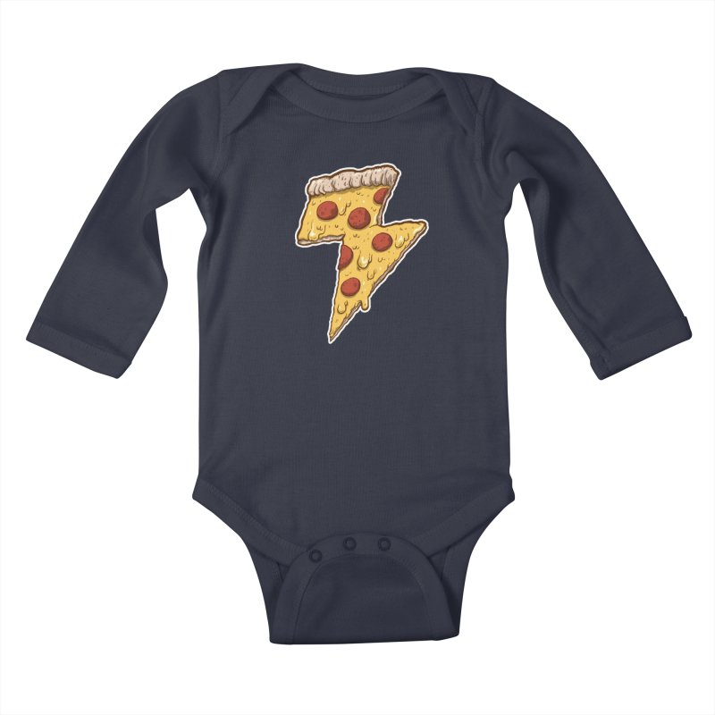 Thunder Cheesy Pizza Kids Baby Longsleeve Bodysuit by exeivier's Artist Shop