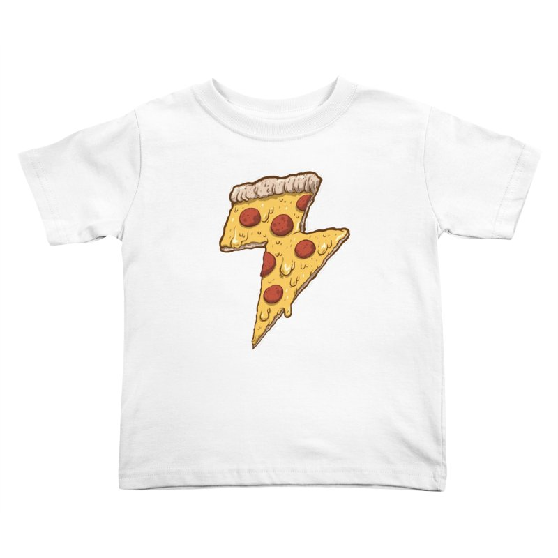 Thunder Cheesy Pizza Kids Toddler T-Shirt by exeivier's Artist Shop