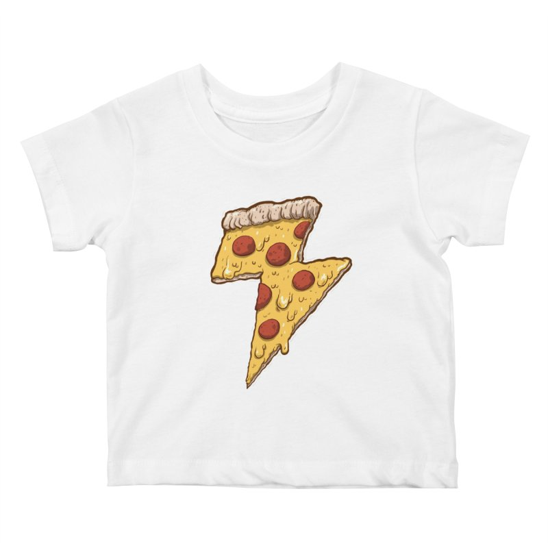 Thunder Cheesy Pizza Kids Baby T-Shirt by exeivier's Artist Shop