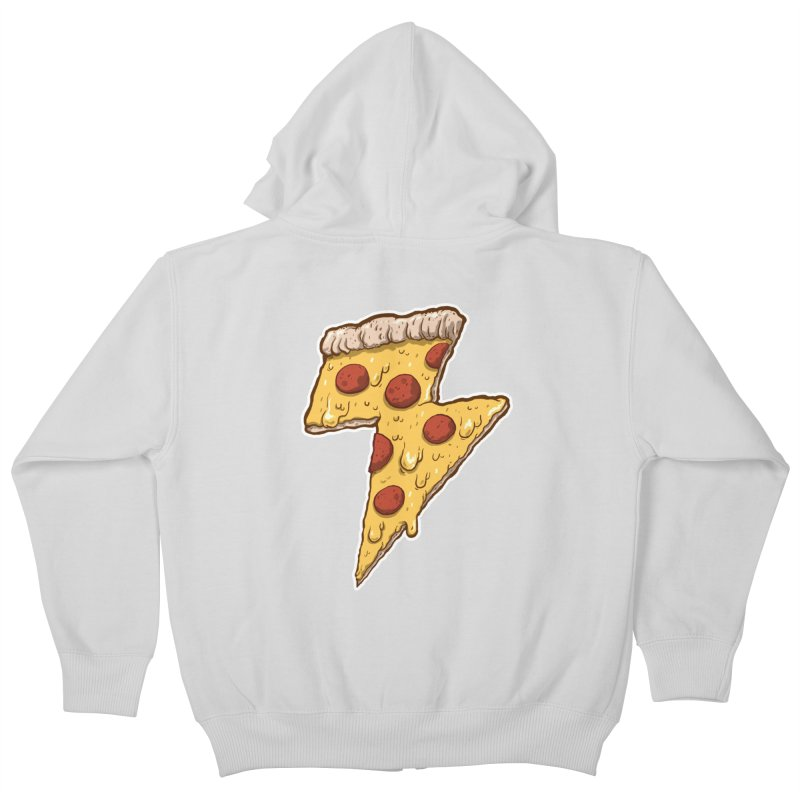 Thunder Cheesy Pizza Kids Zip-Up Hoody by exeivier's Artist Shop