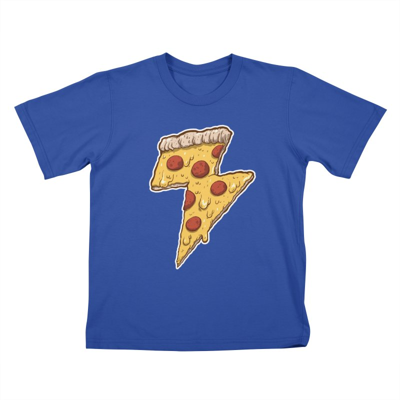 Thunder Cheesy Pizza Kids T-Shirt by exeivier's Artist Shop