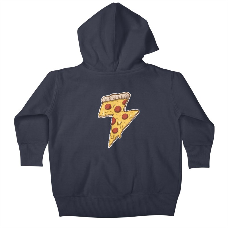 Thunder Cheesy Pizza Kids Baby Zip-Up Hoody by exeivier's Artist Shop