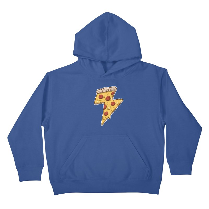 Thunder Cheesy Pizza Kids Pullover Hoody by exeivier's Artist Shop