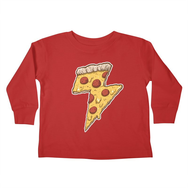 Thunder Cheesy Pizza Kids Toddler Longsleeve T-Shirt by exeivier's Artist Shop