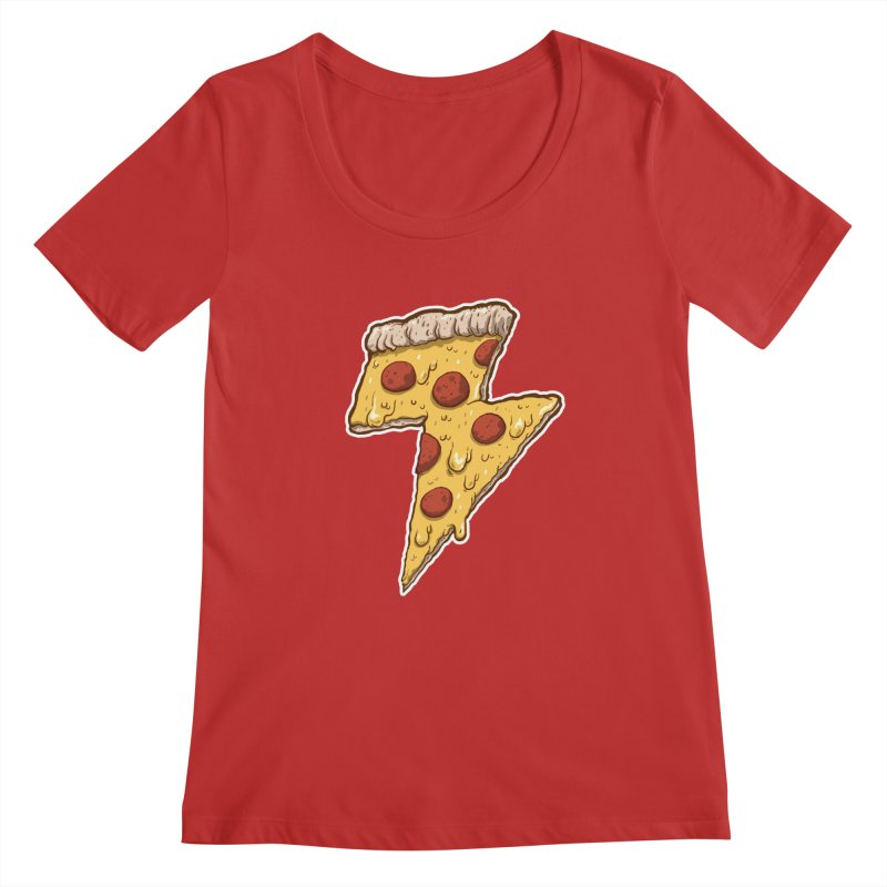 Thunder Cheesy Pizza Women's Scoopneck by exeivier's Artist Shop