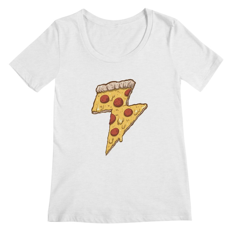 Thunder Cheesy Pizza Women's Regular Scoop Neck by exeivier's Artist Shop