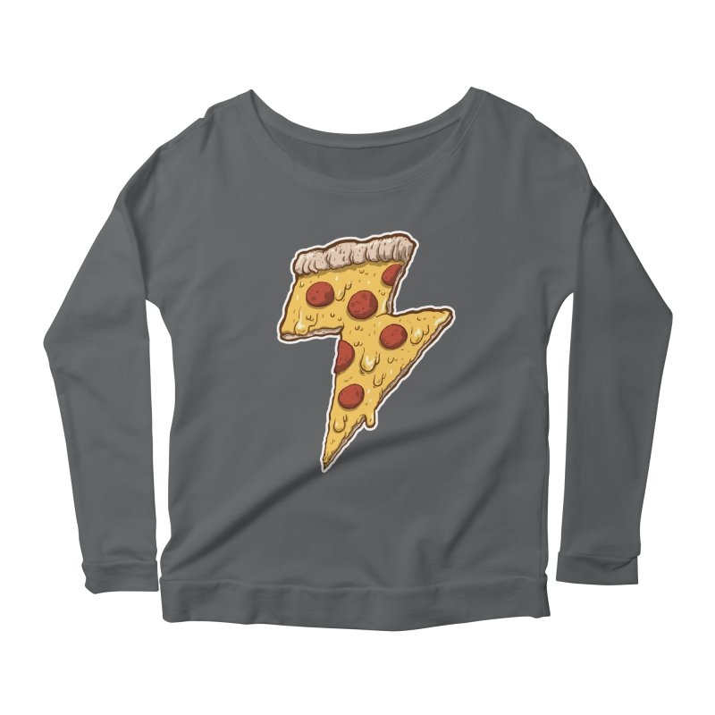 Thunder Cheesy Pizza Women's Scoop Neck Longsleeve T-Shirt by exeivier's Artist Shop