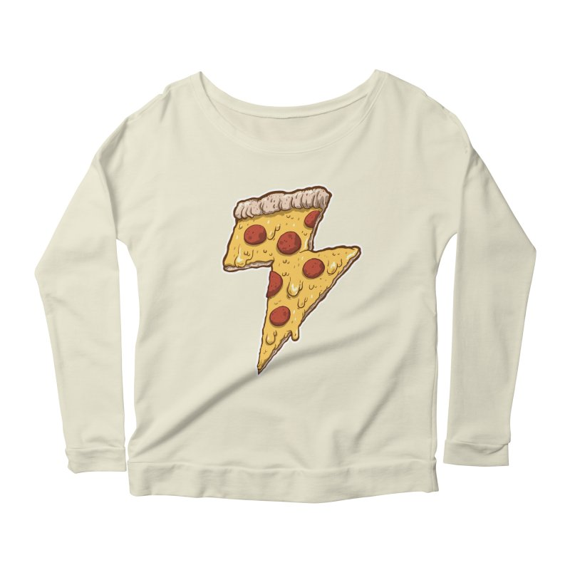Thunder Cheesy Pizza Women's Longsleeve Scoopneck  by exeivier's Artist Shop