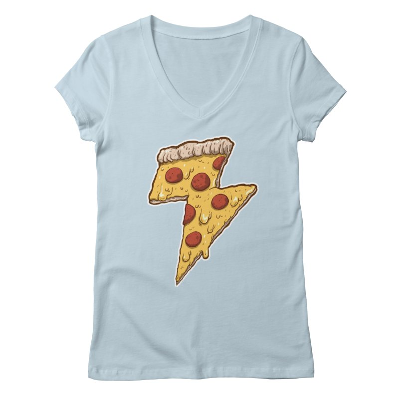 Thunder Cheesy Pizza Women's V-Neck by exeivier's Artist Shop
