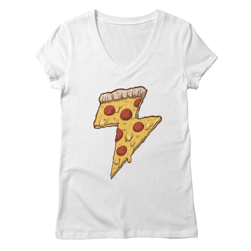 Thunder Cheesy Pizza Women's Regular V-Neck by exeivier's Artist Shop