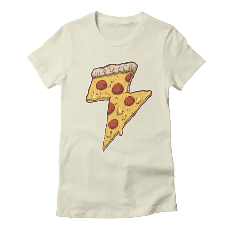 Thunder Cheesy Pizza Women's Fitted T-Shirt by exeivier's Artist Shop