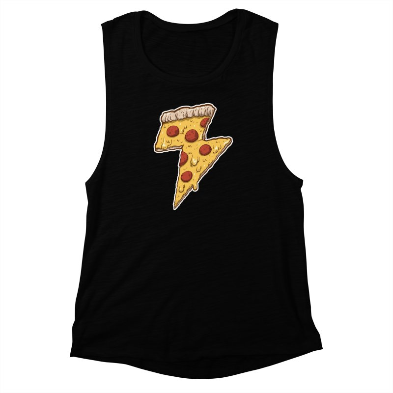 Thunder Cheesy Pizza Women's Muscle Tank by exeivier's Artist Shop