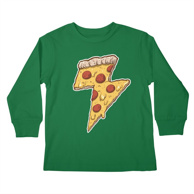 Thunder Cheesy Pizza Kids Longsleeve T-Shirt by exeivier's Artist Shop