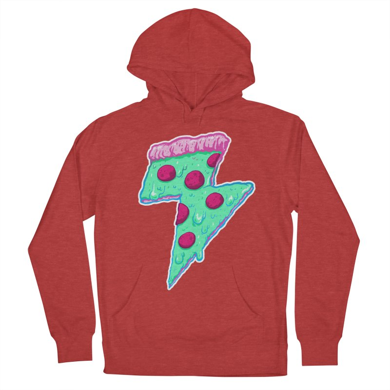 Thunder Neon Pizza Men's French Terry Pullover Hoody by exeivier's Artist Shop
