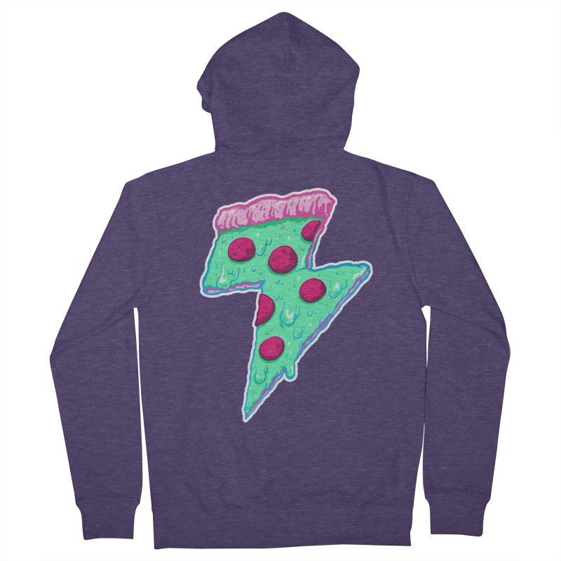 Thunder Neon Pizza Men's French Terry Zip-Up Hoody by exeivier's Artist Shop