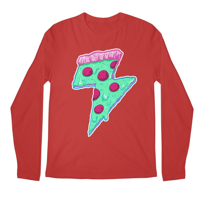 Thunder Neon Pizza Men's Longsleeve T-Shirt by exeivier's Artist Shop