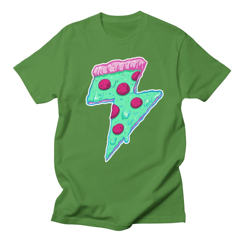 Thunder Neon Pizza Men's T-shirt by exeivier's Artist Shop