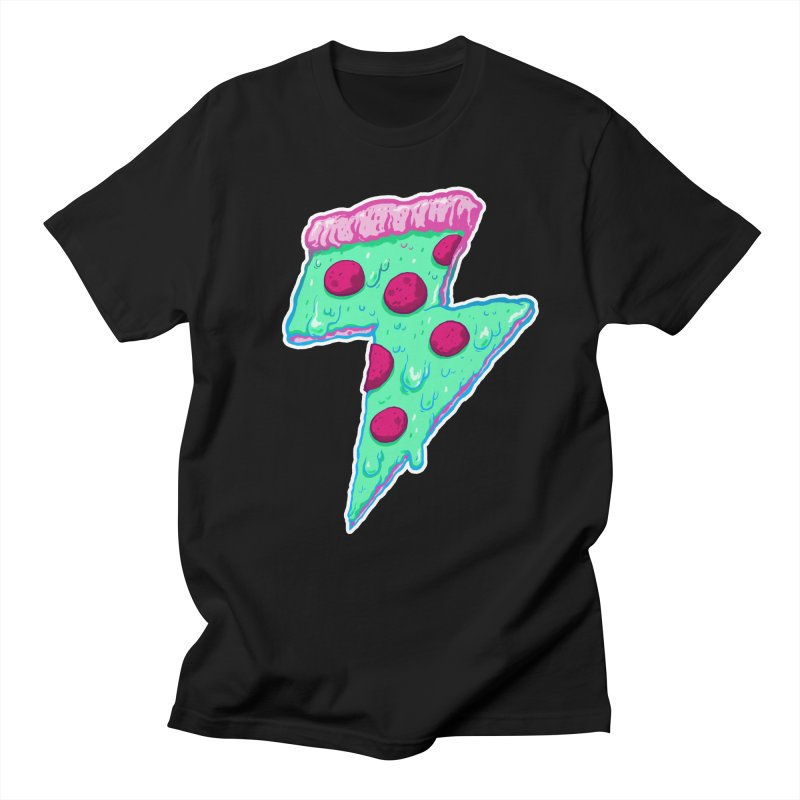 Thunder Neon Pizza Men's Regular T-Shirt by exeivier's Artist Shop