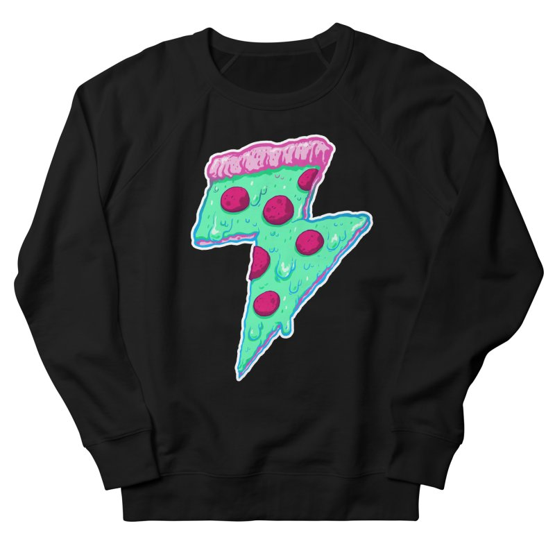 Thunder Neon Pizza Men's French Terry Sweatshirt by exeivier's Artist Shop