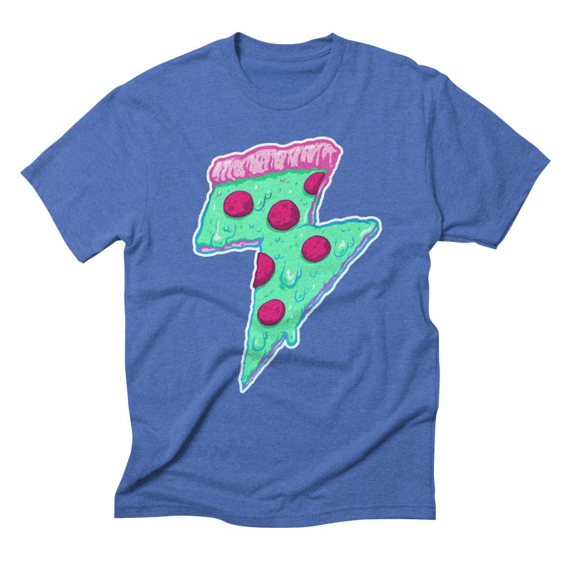 Thunder Neon Pizza Men's Triblend T-Shirt by exeivier's Artist Shop