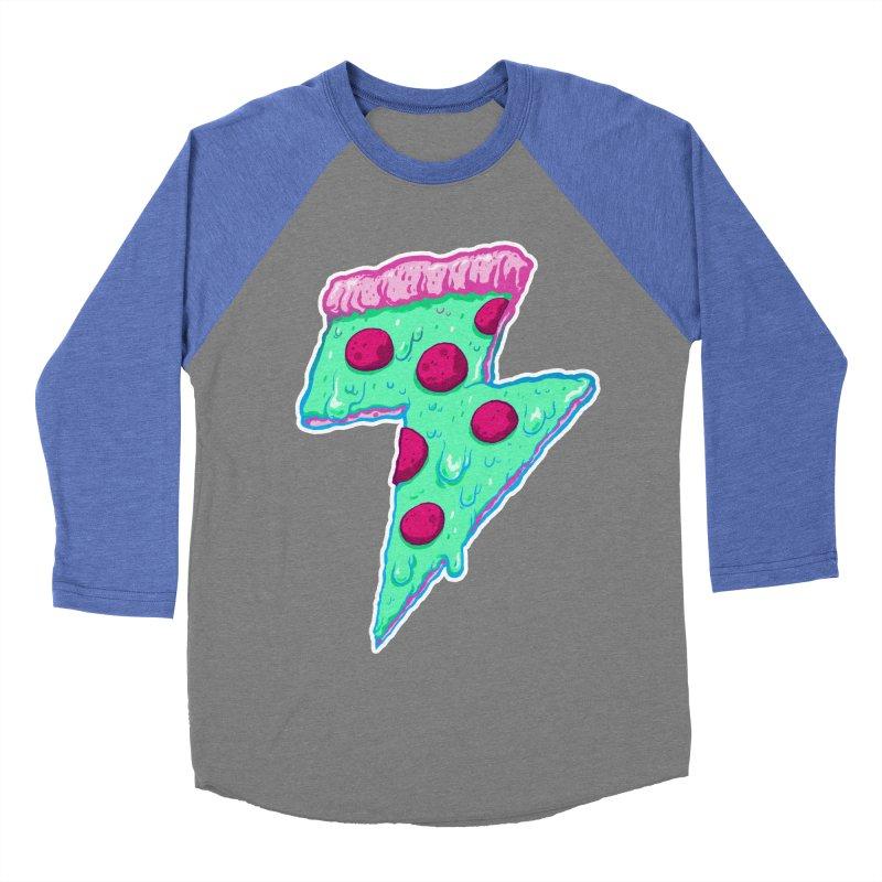 Thunder Neon Pizza Women's Baseball Triblend Longsleeve T-Shirt by exeivier's Artist Shop