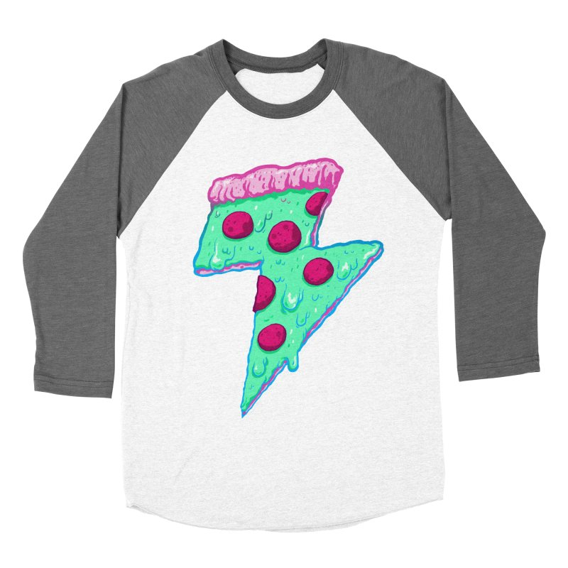 Thunder Neon Pizza Men's Baseball Triblend T-Shirt by exeivier's Artist Shop