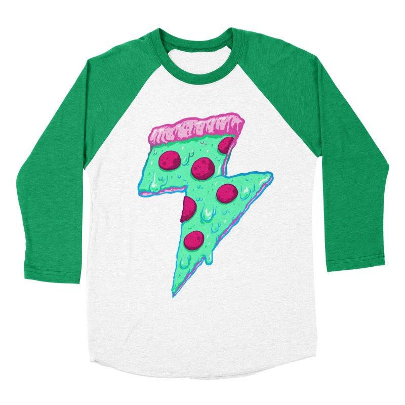 Thunder Neon Pizza Men's Baseball Triblend Longsleeve T-Shirt by exeivier's Artist Shop