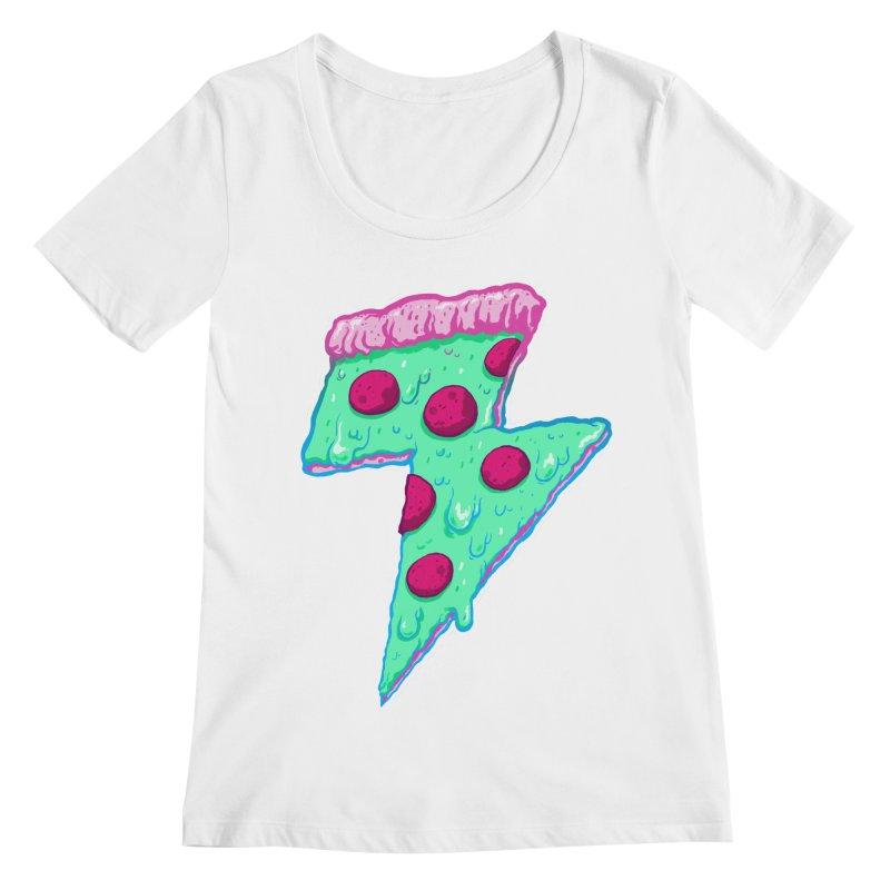 Thunder Neon Pizza Women's Regular Scoop Neck by exeivier's Artist Shop