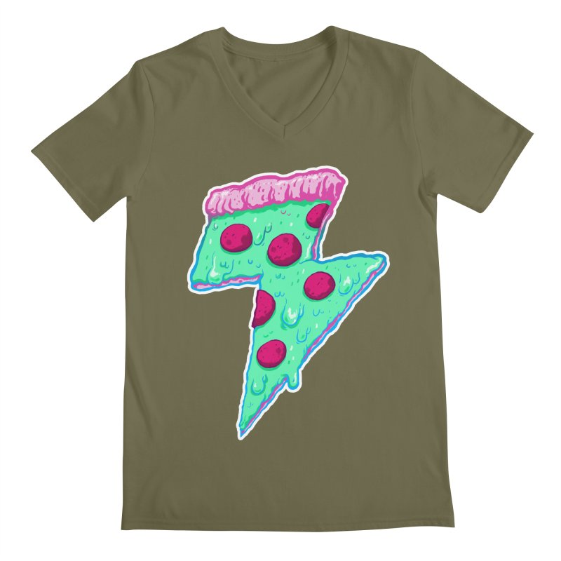 Thunder Neon Pizza Men's Regular V-Neck by exeivier's Artist Shop
