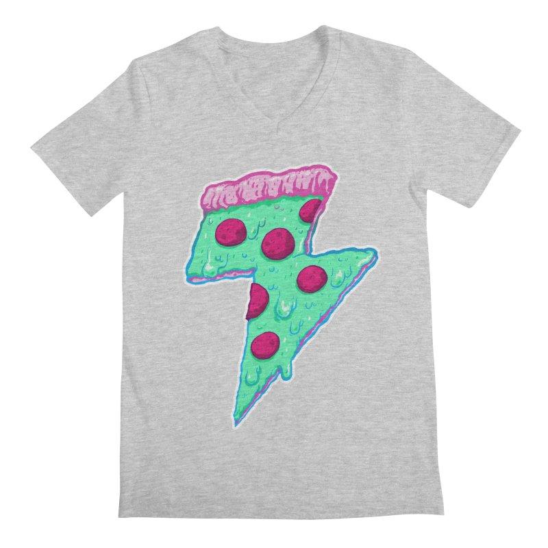Thunder Neon Pizza Men's Regular V-Neck by exeivier's Artist Shop