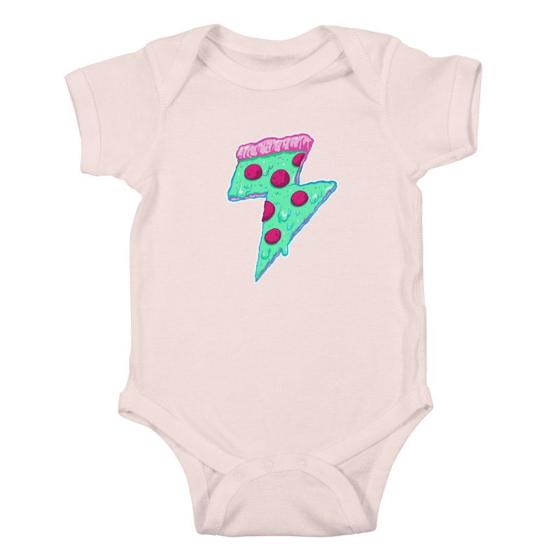 Thunder Neon Pizza Kids Baby Bodysuit by exeivier's Artist Shop