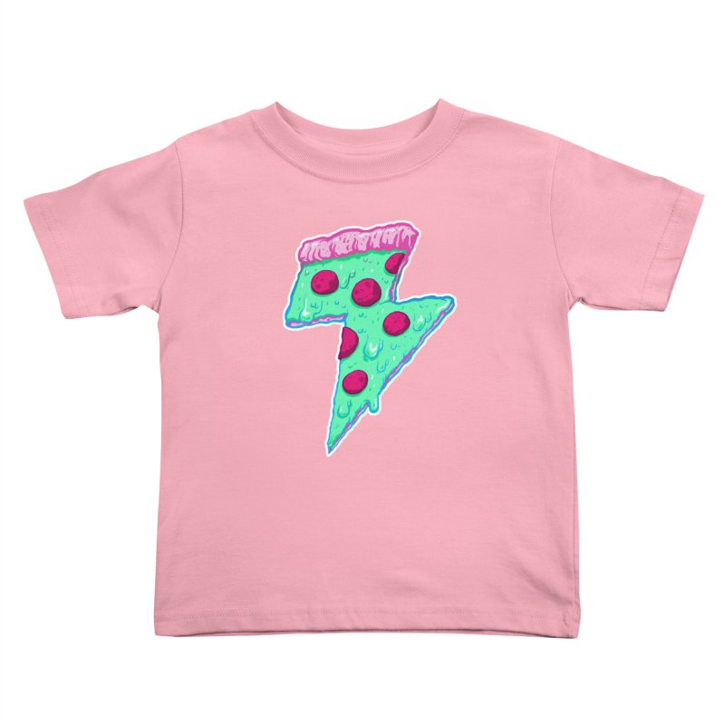 Thunder Neon Pizza Kids Toddler T-Shirt by exeivier's Artist Shop