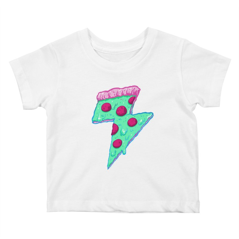 Thunder Neon Pizza Kids Baby T-Shirt by exeivier's Artist Shop
